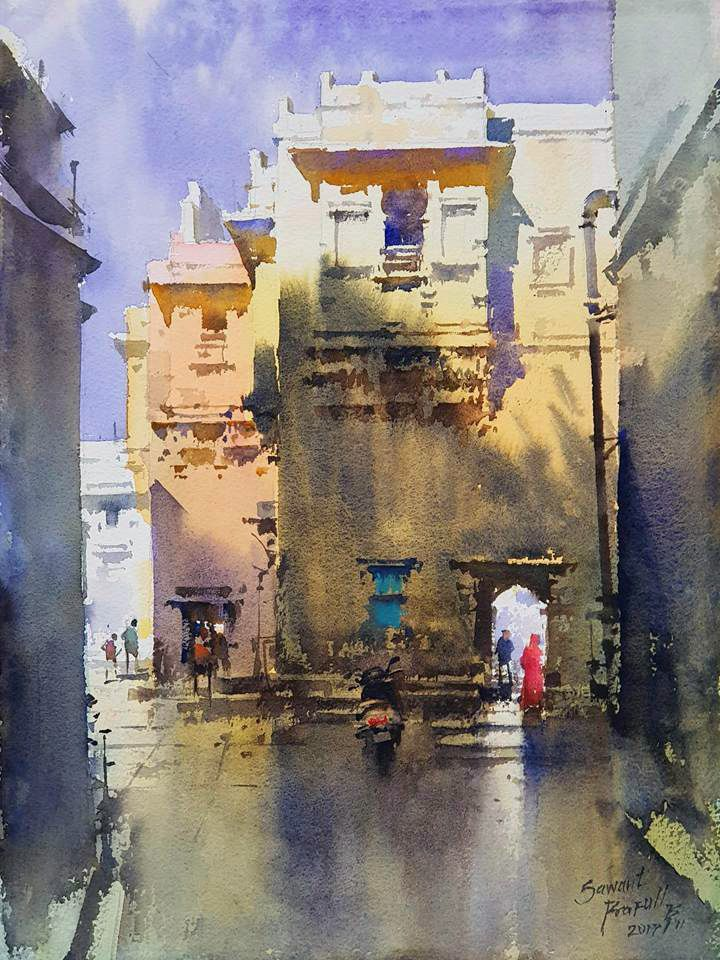 Prafull Sawant Landscape Paintings Watercolor Architecture