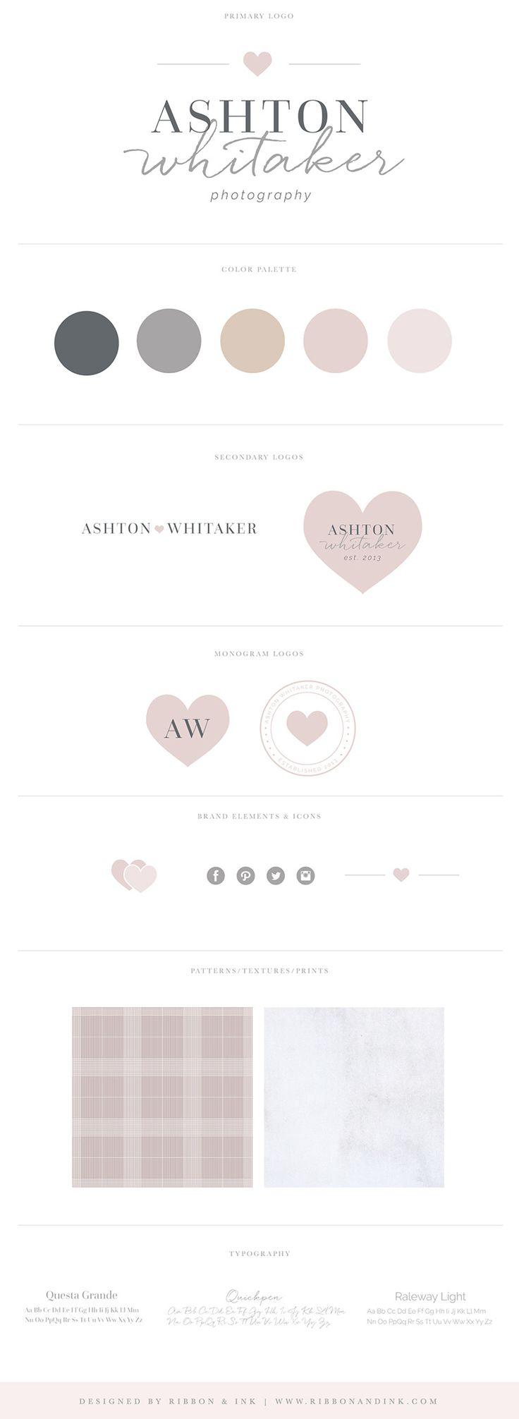 Premade branding / semi custom logo / premade logo / branding for photographers / logo design / semi custom logo / brand kit / brand board / brand ideas / color palette / brand board / pink / marble / grey