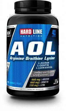 Hardline AOL, Arjinin, Ornitin ve Lisin amino asit çeşitlerini içeren supplement ürünüdür. Araştırmalar sonucunda saptanan en ideal oranlara göre formülüze edilmiştir. Her servisi 2:2:1 oranında, toplam 1650mg Arjinin, Ornitin ve Lisin amino asit karışımı içerir.