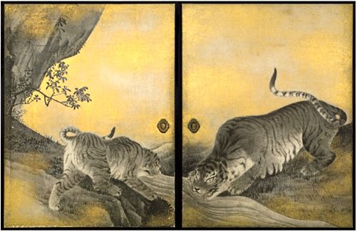 A work of painter Maruyama Oukyo ( Edo era ) of the Japanese painting. Tigers drinking water. 1787.