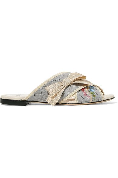 Fendi - Bow-embellished Embroidered Stretch-knit And Leather Slides - Light blue - IT38.5