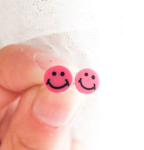 Pink Smile Studs Smile Face Earrings Pink by LePetitParadisPerdu