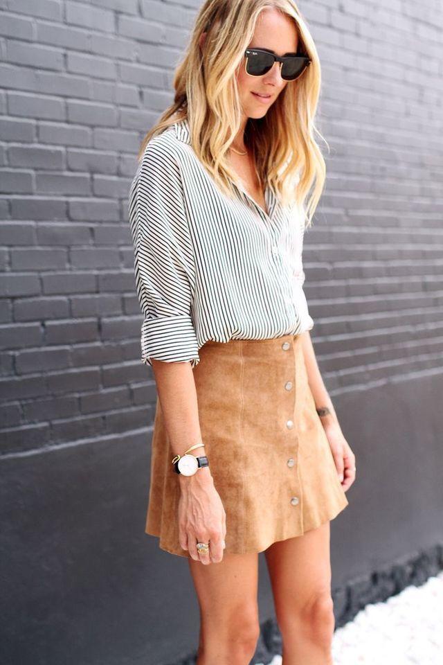 Suede mini skirt.