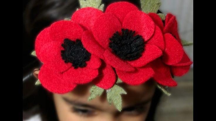 Poppy flower headband:Spring floral headband