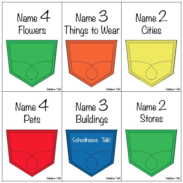 Schoolhouse Talk!: Pocket Categories Sorting Game. Repinned by SOS Inc. Resources pinterest.com/sostherapy/.