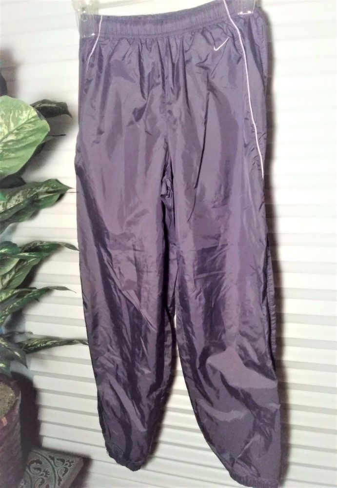 Nike Mens Athletic Pants Lined Wind Track Work Out Gray Nylon Ankle Zippers Sz M #Nike #LinedAthleticPants