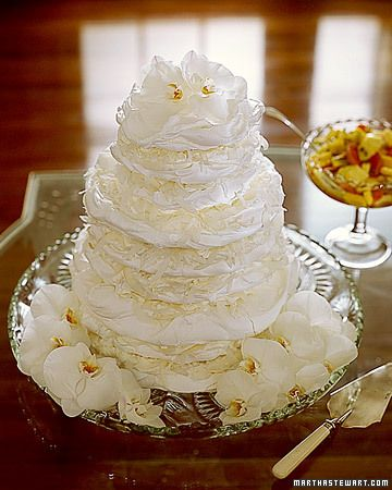 Meringue Disks    Instead of a traditional dessert at a shower, why not serve these wedding cake-inspired stacked meringue disks? They're delicious and will certainly get everyone ready for the wedding -- and the wedding cake.