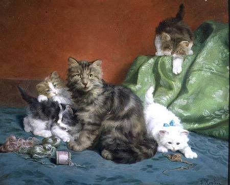 Gatitos que juegan con hilo de Daniel Merlin Colección privada