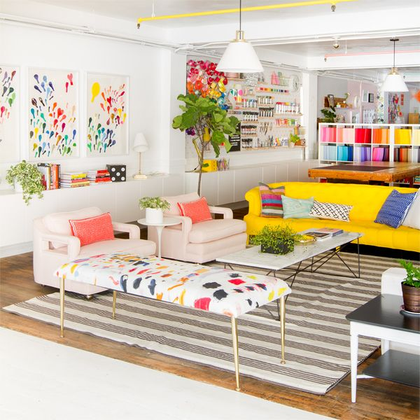 Oh Happy Day Studio Tour: Living Room. Love this for creative workspace + home office ideas!