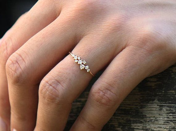 Cluster Ring in 14k Gold / Diamond Cluster Ring / Unique Diamond Stackable Ring / Diamond Wedding Band / Valentines Day