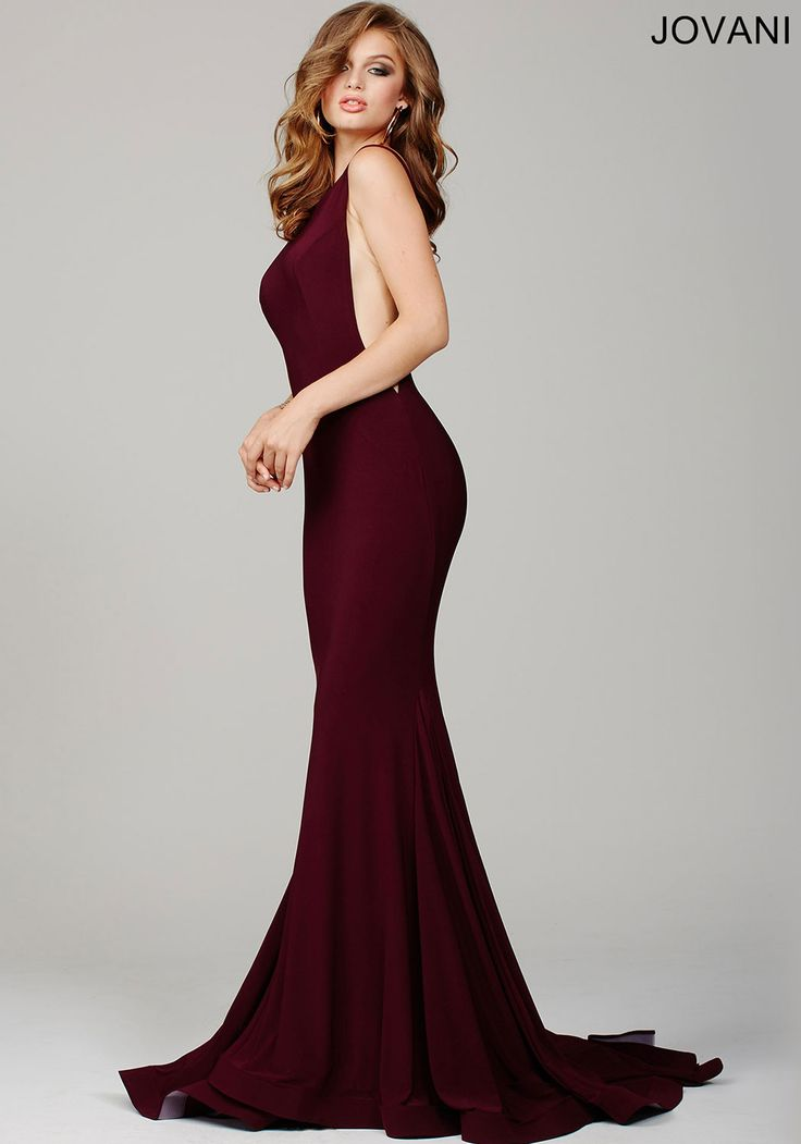 burgundy low back and high neck long wedding guest dress