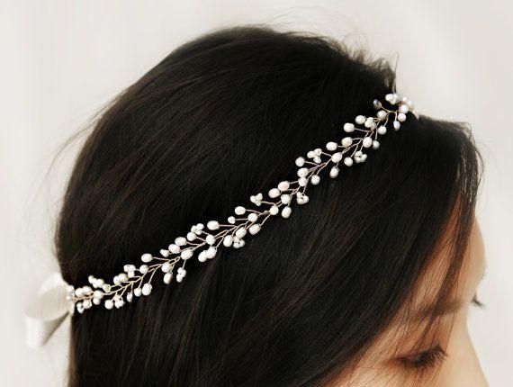 Boho Bridal Freshwater Pearl Hair Vine, Halo Headpiece, Crown Bridal Hair…