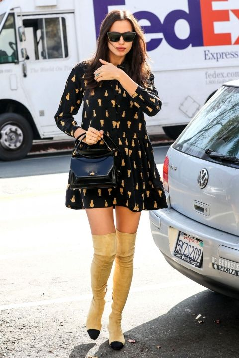 So Stylish spotted Irina Shayk wearing thigh boots by Chanel and 2 other items
