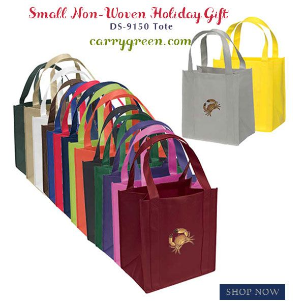 "Small Non-Woven Holiday gift Tote DS-9150 • Non-woven polypropylene with reinforced handles and Bottom  • Reusable and 100% recyclable.  • 100 GSM Non-Woven Polypropylene  • Dimension: 12""W x 13""H x 8"" Gusset  #nonwovenbags #holidaygiftbags #holidayreusablebags #personalizeholidaygiftbag #totebag #nonwoventotes #bags #totes #nonwoven #holidaybag #carrygreen"