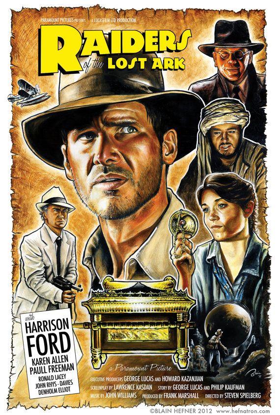 Raiders of the Lost Ark Retro Movie Poster Print by Blain Hefner