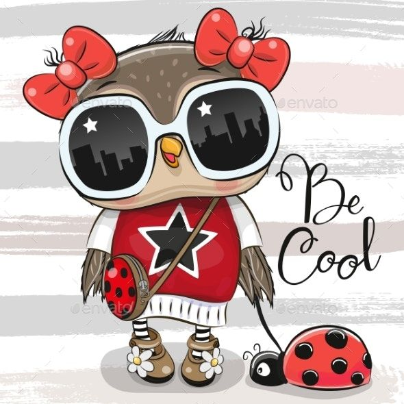 Cartoon Owl With Sunglasses And Ladybug Cute Owl Cartoon Owl Cartoon Owl Png