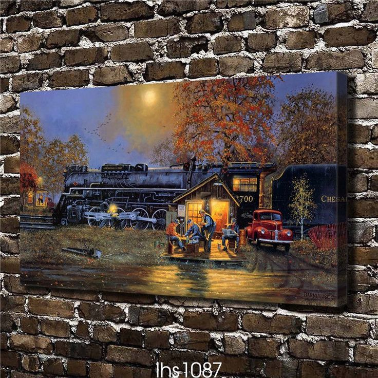 Canvas Hd Picture Print Art Painting Unframed, Train Passed Snow 12''X22''