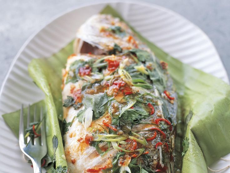 Steaming this fabulous Thai-style steamed fish is best done in a bamboo steamer, but if you have a metal one just loosely wrap the whole parcel in baking paper.