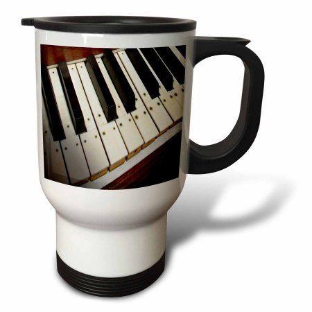 3dRose Piano Keyboard, Travel Mug, 14oz, Stainless Steel