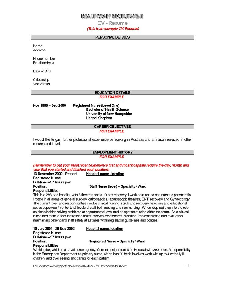 Examples Objective For Resume - Template