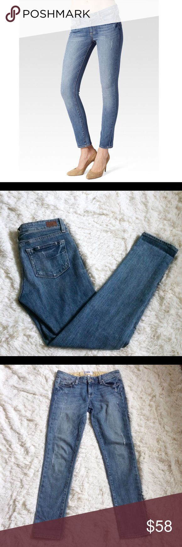 """PAIGE Skyline Ankle Peg Jeans size 27 Paige skyline Ankle peg jeans in beachwood wash- light wash with distressing. A mid-rise peg that gets slimmer from the knee to the leg opening with an inseam hitting at the ankle.  Measurements: waist- 15"""" across, rise- 8"""", inseam- 28"""" PAIGE Jeans Ankle & Cropped"""