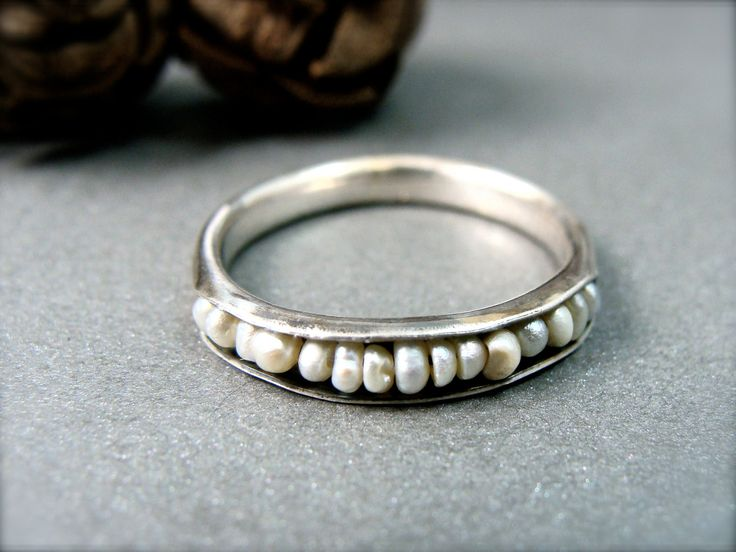Salish sea pearl stack ring by sirenjewels on Etsy, $48.00