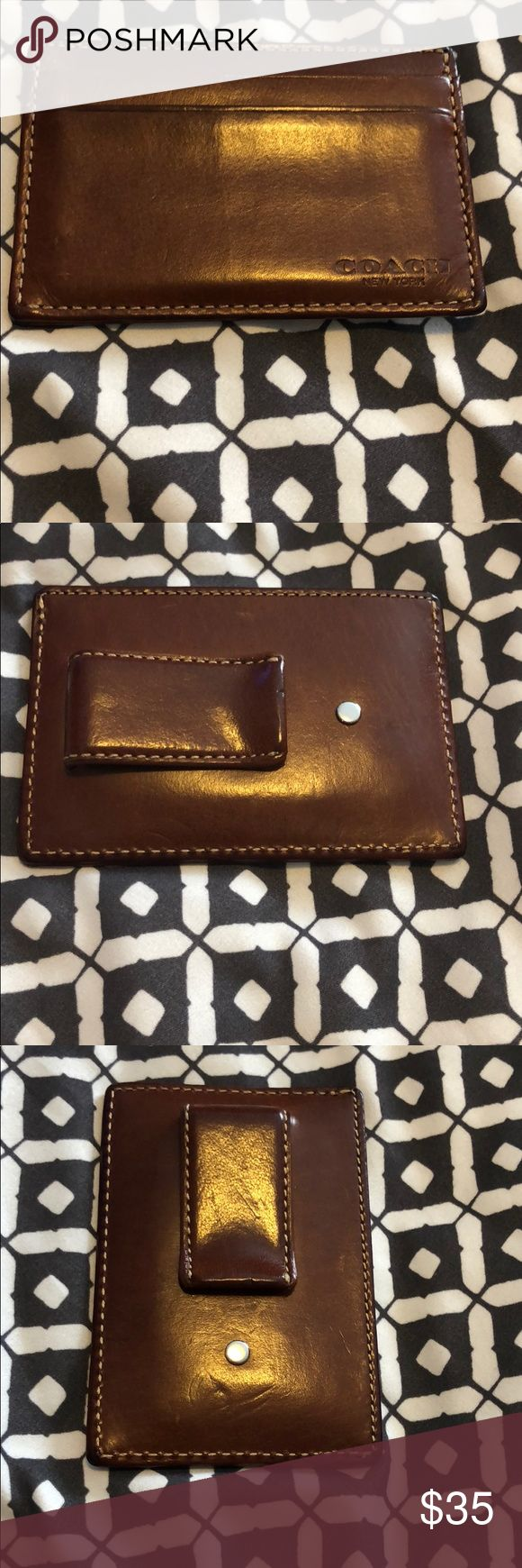 """Mens Money Clip Card Case in sport calf leather Great condition & slightly used. Pictures show minor usage scratches.  100% Leather Calf leather Credit card and multifunction pockets Approx. 4"""" (L) x 2"""" (H) Coach Accessories Money Clips"""