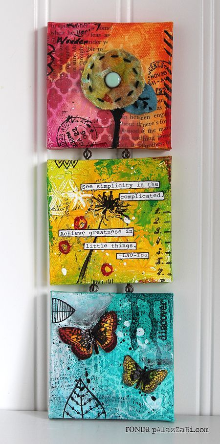 Ronda Palazzari Little Things Mini Canvas Trio    Like the idea of using eye hooks to connect picture frames.