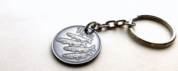 Iceland Coin keychain Fish keychain Nautical keychain