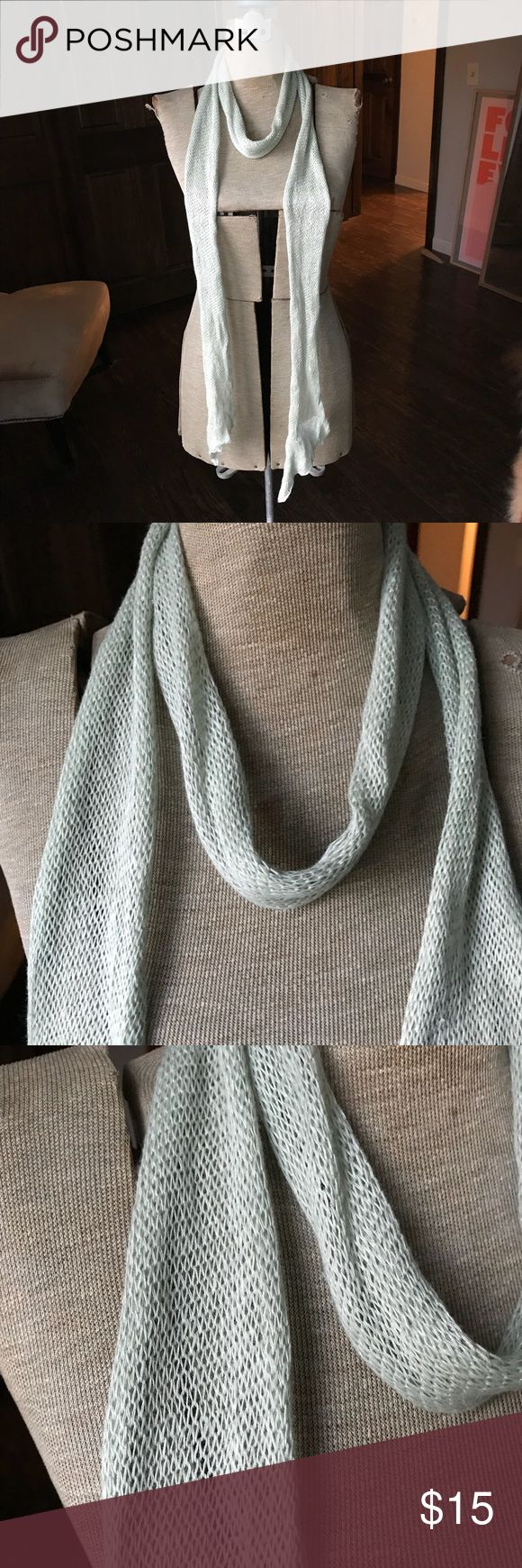"Nicole Farhi Knit Linen Scarf, Subtle Green Nicole Farhi Knit 100% Linen Scarf, Subtle Muted Green. Long and skinny, 90"" NICOLE FARHI Accessories Scarves & Wraps"