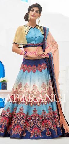 Online Printed Raw Silk Blue Ghagra Choli Semi Stitched BZ5094D77610