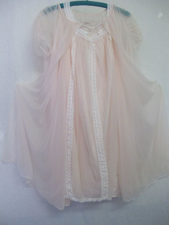 Mid Century Nightgown Peignoir Set Sheer Nightgown 1960's Nightgown Mad Men Nightgown Small/Medium