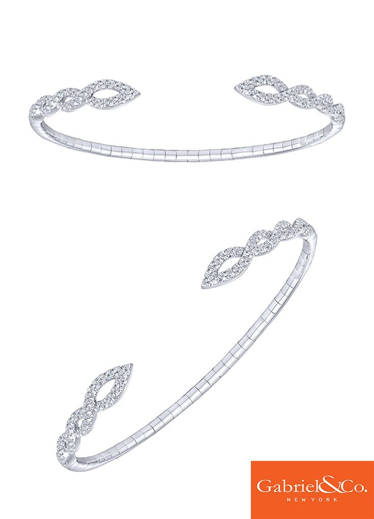 This stunning 14k White Gold Diamond Bangle by Gabriel and Co. is the perfect accessory for any outfit. We love the daring designs and perfect details in this gorgeous bangle. Pair this along with a few other Gabriel & Co. bangles or bracelets to make a beautiful stack.