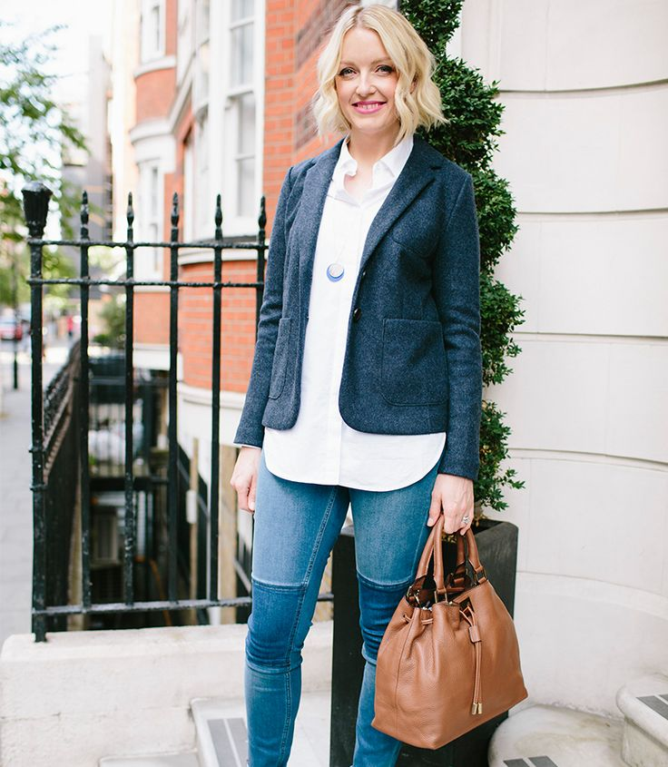 Co-founder of The Pool, Lauren Laverne in her Boden workwear outfit. Skinny jeans, a white shirt and blazer are her office staples