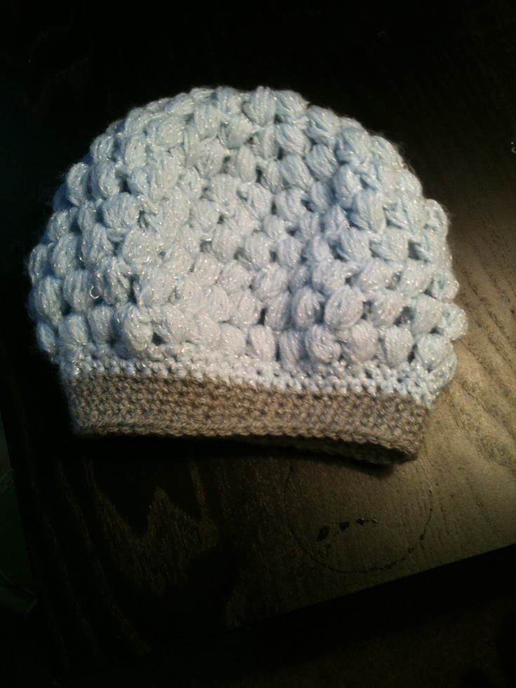 Kids baby blue and grey puff stitch hat