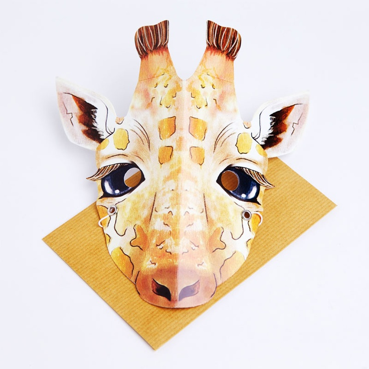 Giraffe party mask card.  Turn yourself into a cute giraffe to amuse the crowd.