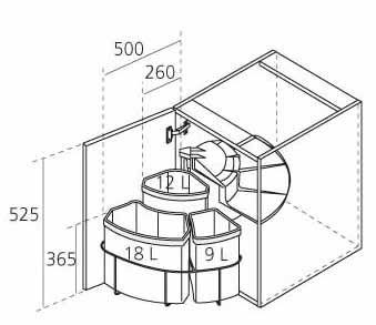Poubelle rotative tri s lectif pour meuble d angle for Dimension meuble d angle cuisine