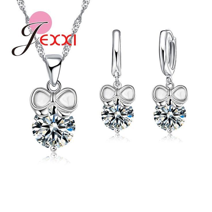 JEXXI Pretty Women/Girls 925 Sterling Sivler Jewelry Set Clear CZ Diamond Charm Gift For Girlfriend/Children Necklace+Earrings
