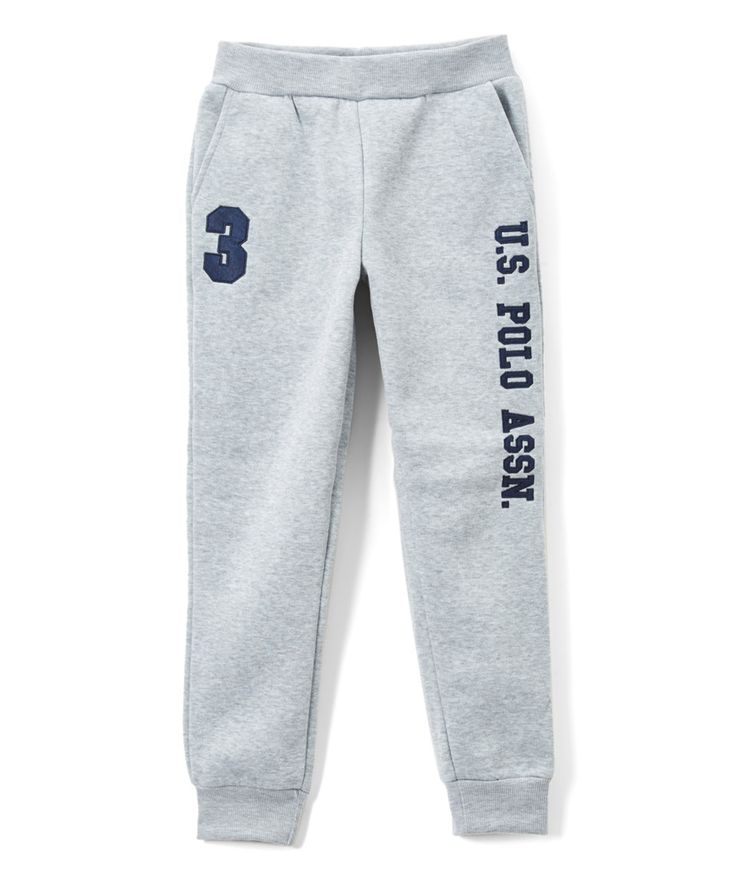 Loving this Light Heather Gray & Navy 'U.S. Polo' Sweatpants - Boys on #zulily! #zulilyfinds