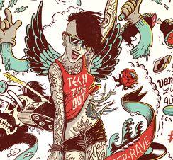 Eat Sleep Rave - illustration for CJP magazine, 2014 by Lorenzo Milito
