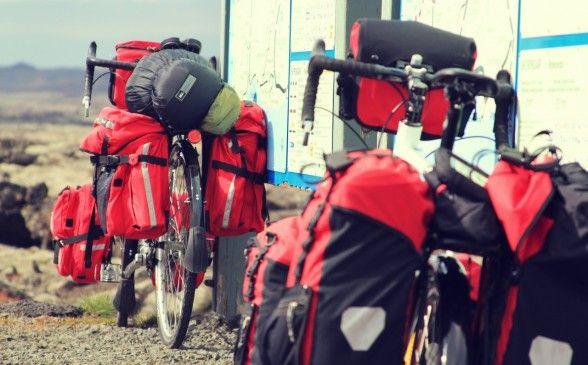 Very visible and fully loaded touring bicycles ready for the road.