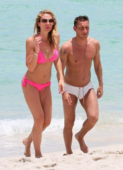 Francesco Totti and wife Ilary Blasi on the Miami beach, Florida on June 7, 2012...