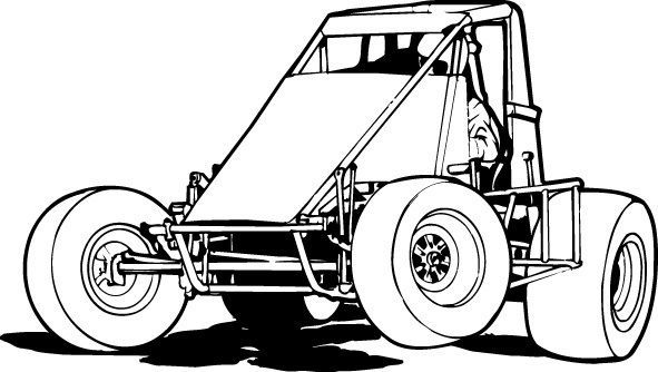 Sprint Car Coloring Pages Display