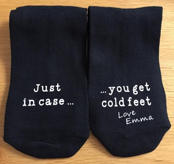 Personalised Black Wedding Socks with a Just Incase You Get Cold Feet design printed on the toes so the Groomon the morning of your wedding can look down and be reminded of how special you are onyour Big Day.Funny wedding gift which all grooms will laugh and appreciate.Colour of socks are Black.Size: 9-12(UK)*If you require 4-8 please state that in the special instructionssection. *  Wash up to 40 degreesPersonalised using Vinyl applied with industrial heat press Checkout…