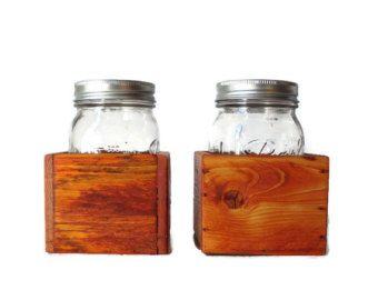 Mason Jar pieza central Box Set de dos - boda de país y Home Decor - madera recuperada