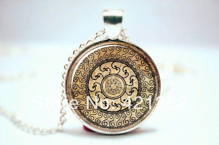 Ом ожерелье, Намасте йога ювелирные изделия, Браун дерево дзэн кулон стекло кабошон ожерелье 3243