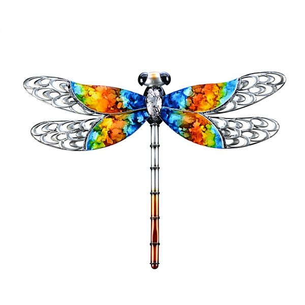 Outdoor metal dragonfly wall decor