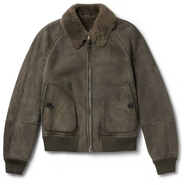 TOM FORD Shearling Bomber Jacket ($8,210) ❤ liked on Polyvore featuring men's fashion, men's clothing, men's outerwear, men's jackets, mens shearling bomber jacket, mens shearling jacket, tom ford mens jacket and mens short sleeve jacket