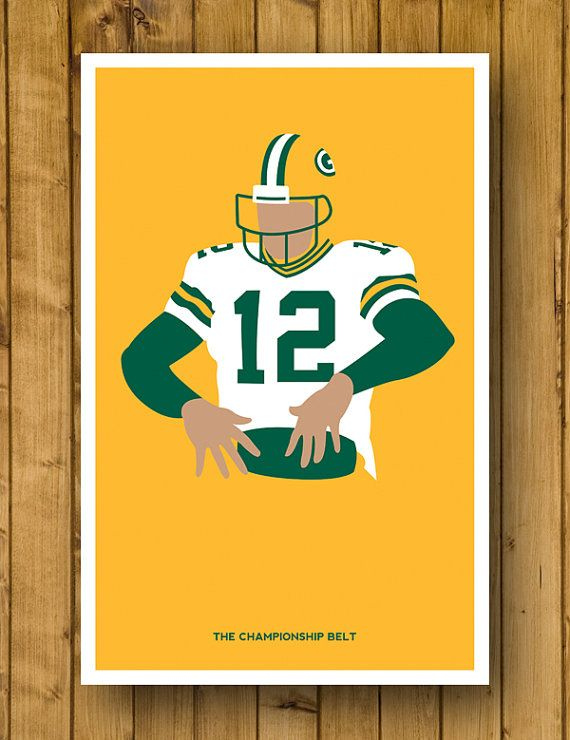 """Green Bay Packers - Aaron Rodgers 'Championship Belt' Poster (11 x 17"""")  $15.00"""