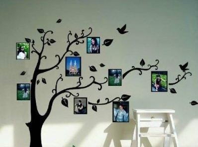 Black Tree and Photo Frame Wall Decal
